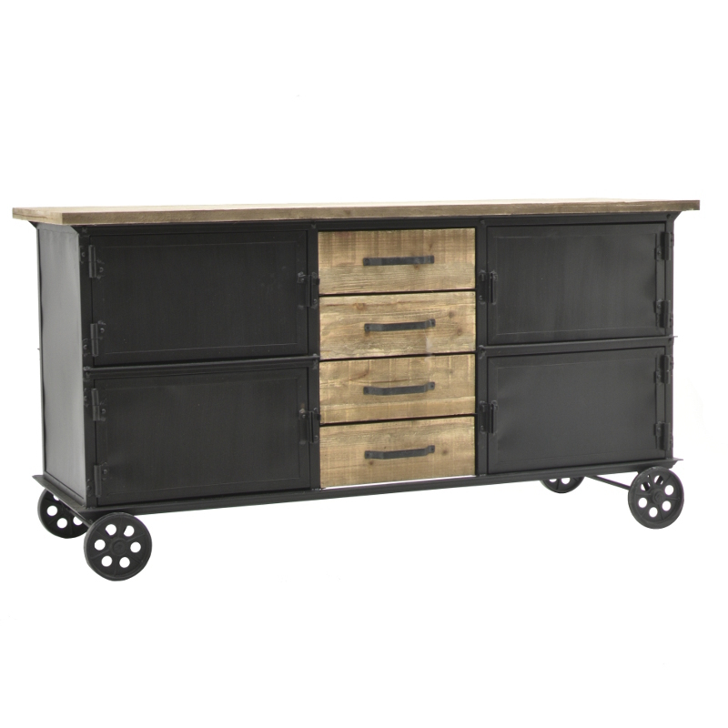 meuble industriel campagne bahut enfilade roulettes bois et fer 157 cm l 39 originale d co. Black Bedroom Furniture Sets. Home Design Ideas