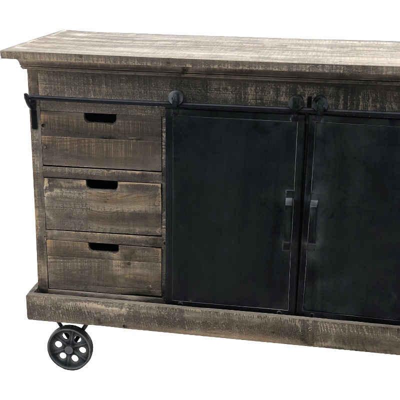 enfilade bahut buffet avec roulettes portes coulissantes fer bois 160 cm l 39 originale d co. Black Bedroom Furniture Sets. Home Design Ideas